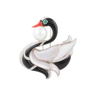 Ella Gafter Ella Gafter Pearl Diamond Swan Brooch Pin with Onyx Coral