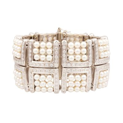 Ella Gafter Ella Gafter Pearl and Diamond Cuff Bracelet