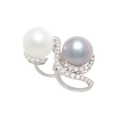 Ella Gafter Ella Gafter Pearl and Diamond Two Finger Ring South Sea Pearl Tahitian Pearl