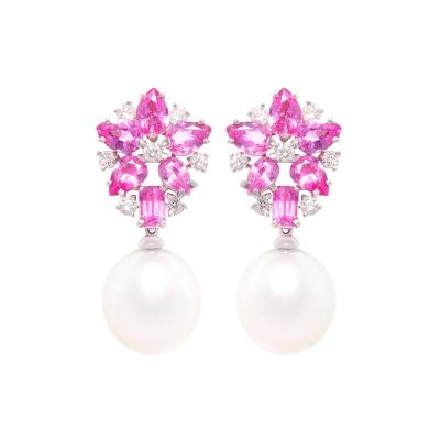 Ella Gafter Ella Gafter Pink Sapphire and Diamond Drop Earrings South Sea Pearl
