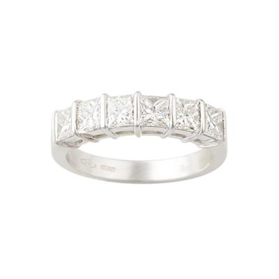 Ella Gafter Ella Gafter Princess Cut Diamond White Gold Band Ring
