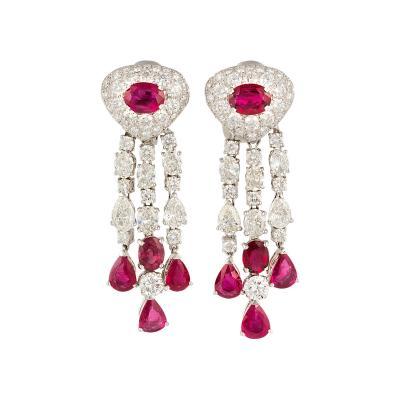 Ella Gafter Ella Gafter Ruby and Diamond Chandelier Earrings