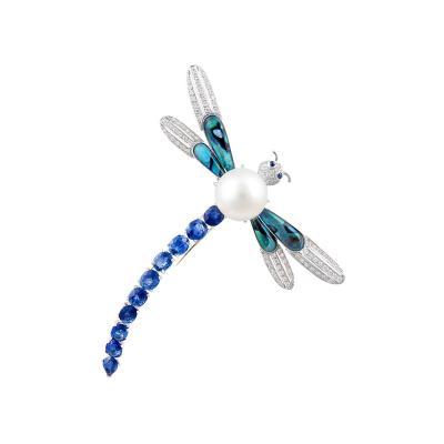 Ella Gafter Ella Gafter Sapphire Diamond Pearl Dragonfly Brooch Pin