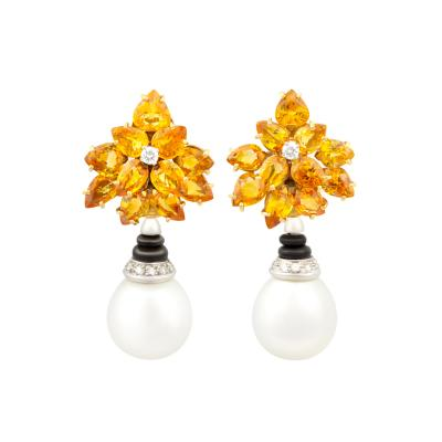 Ella Gafter Ella Gafter Sapphire Diamond South Sea Pearl Earrings