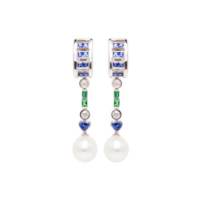 Ella Gafter Ella Gafter Sapphire Emerald Pearl Diamond Drop Earrings