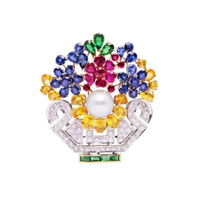 Ella Gafter Ella Gafter Sapphire Ruby Diamond Flower Basket Brooch Pin