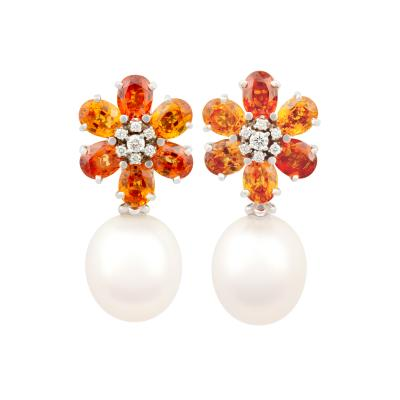 Ella Gafter Ella Gafter Sapphire South Sea Pearl and Diamond Flower Earrings
