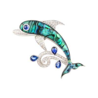 Ella Gafter Ella Gafter Sapphire and Diamond Dolphin Brooch Pin