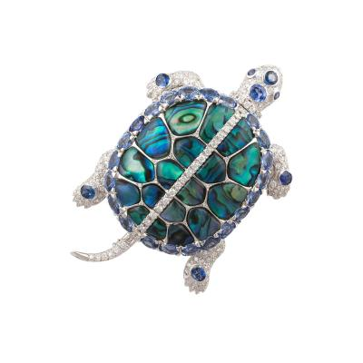 Ella Gafter Ella Gafter Sapphire and Diamond Turtle Brooch Pin