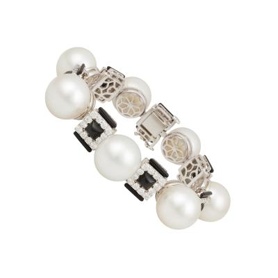 Ella Gafter Ella Gafter South Sea Pearl Diamond Bracelet Onyx