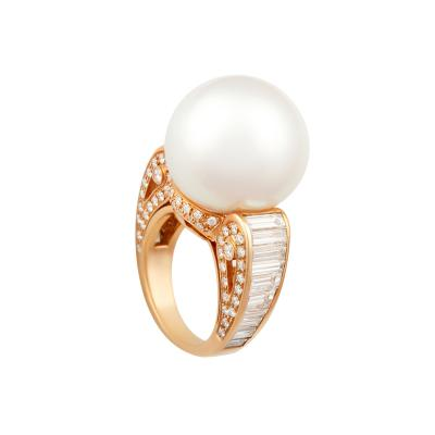 Ella Gafter Ella Gafter South Sea Pearl Diamond Cocktail Ring