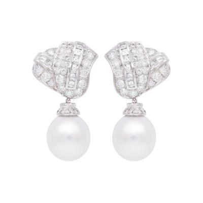 Ella Gafter Ella Gafter South Sea Pearl Diamond Drop Earrings
