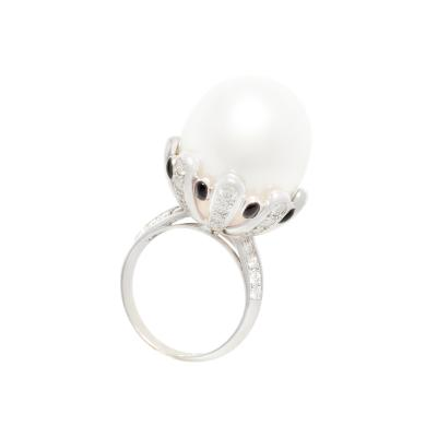 Ella Gafter Ella Gafter South Sea Pearl Diamond Onyx Cocktail Ring