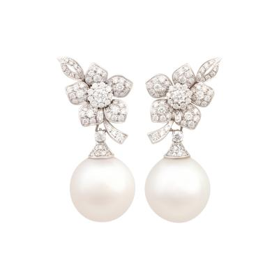 Ella Gafter Ella Gafter South Sea Pearl Diamond White Gold Flower Earrings