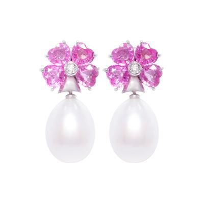 Ella Gafter Ella Gafter South Sea Pearl Heart Shape Pink Sapphire Diamond Drop Earrings