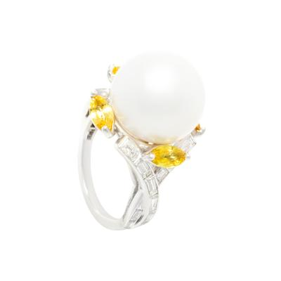 Ella Gafter Ella Gafter South Sea Pearl Yellow Sapphire Diamond Cocktail Ring