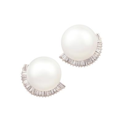 Ella Gafter Ella Gafter South Sea Pearl and Diamond Clip On Earrings