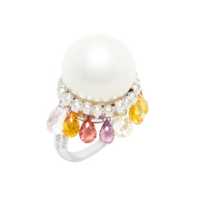Ella Gafter Ella Gafter South Sea Pearl and Diamond Cocktail Ring with Sapphire