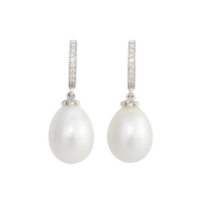 Ella Gafter Ella Gafter South Sea Pearl and Diamond Drop Earrings