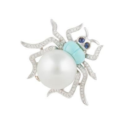 Ella Gafter Ella Gafter South Sea Pearl and Diamond Spider Brooch Pin