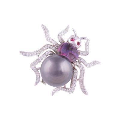 Ella Gafter Ella Gafter Tahitian Black Pearl and Diamond Spider Brooch Pin