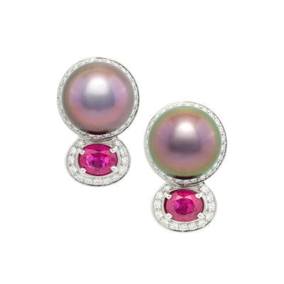 Ella Gafter Ella Gafter Tahitian Pearl Ruby Diamond Earrings