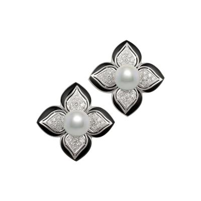 Ella Gafter Ella Gafter Tahitian Pearl and Diamond Earrings with Onyx