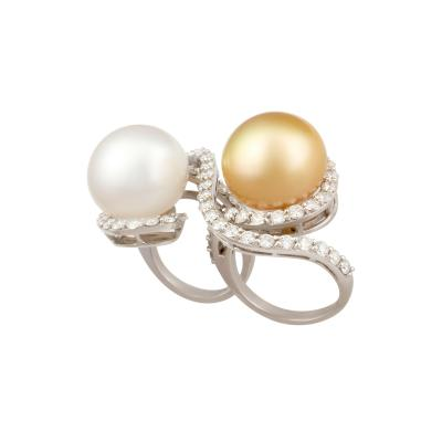 Ella Gafter Ella Gafter Two Finger Pearl and Diamond Ring