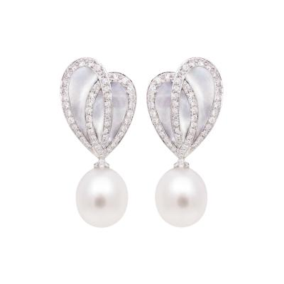 Ella Gafter Ella Gafter White South Sea Pearl Diamond Drop Earrings