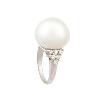 Ella Gafter Ella Gafter White South Sea Pearl and Diamond Cocktail Ring