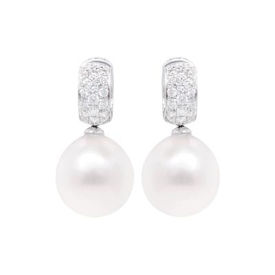 Ella Gafter Ella Gafter White South Sea Pearl and Diamond Earrings