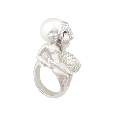 Ella Gafter Ella Gafter Zodiac Aquarius Ring with South Sea Pearl and Diamonds