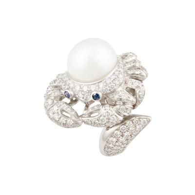Ella Gafter Ella Gafter Zodiac Cancer Ring with Diamonds and Pearl