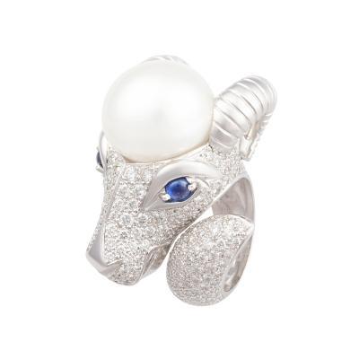 Ella Gafter Ella Gafter Zodiac Capricorn Ring with Diamonds and Pearl
