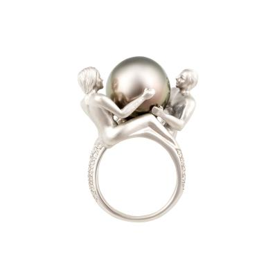 Ella Gafter Ella Gafter Zodiac Gemini Ring with Tahitian Pearl and Diamonds