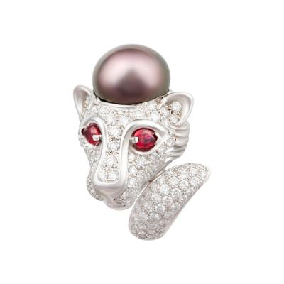 Ella Gafter Ella Gafter Zodiac Leo Ring with Tahitian Pearl and Diamonds