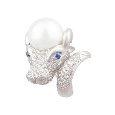 Ella Gafter Ella Gafter Zodiac Taurus Ring with Diamonds and Pearl