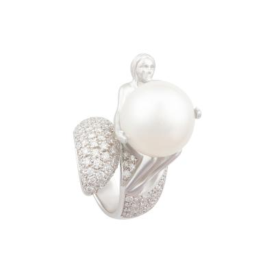 Ella Gafter Ella Gafter Zodiac Virgo Ring with South Sea Pearl and Diamonds