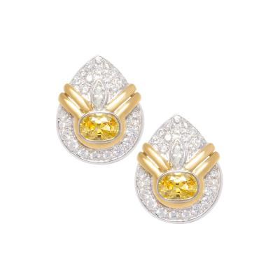 Ella Gafter Golden Yellow Sapphire and Diamond Clip On Earrings