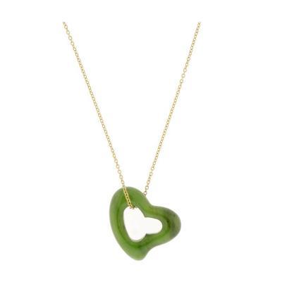 Elsa Peretti Tiffany Co Elsa Peretti Large Jade Open Heart Necklace