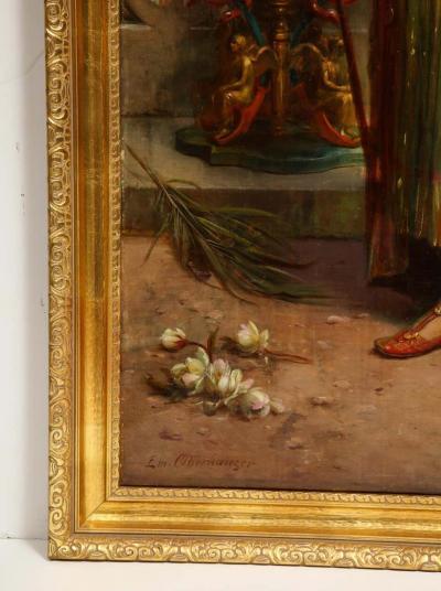 Emanuel Oberhauser Austrian 1854 1919 Full Length Orientalist Queen Oil