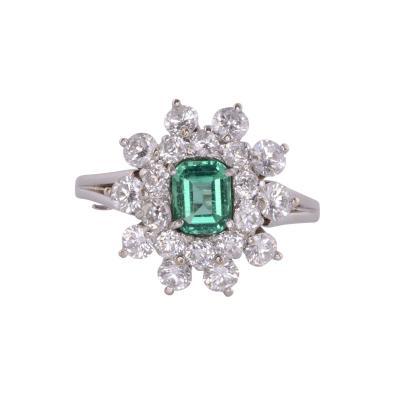 Emerald Center Diamond White Gold Ring