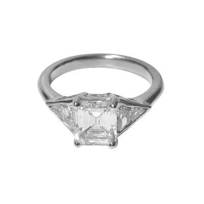 Emerald Cut Diamond Platinum Ring 20th Century