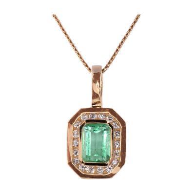 Emerald Cut Emerald Pendant on Chain