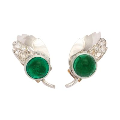 Emerald Diamond Earclips