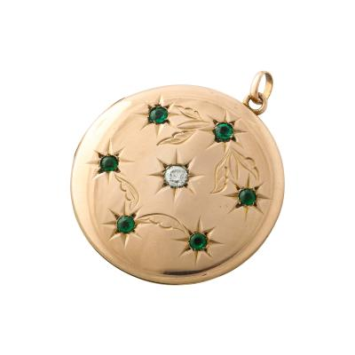 Emerald and Diamond Floral Engraved Locket