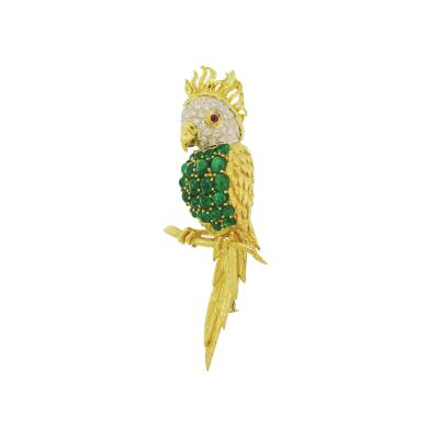 Emerald and Diamond Parrot Gold Brooch