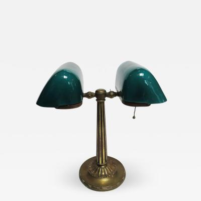 Emeralite 8734 Series Double Library Desk Lamp in Brass and Glass Rewired
