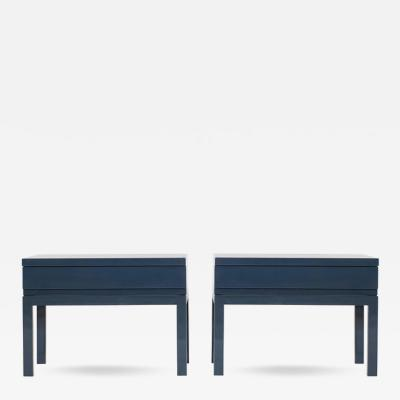 Emiel Veranneman Veranneman Petrol Blue Lacquered Bed Side Tables
