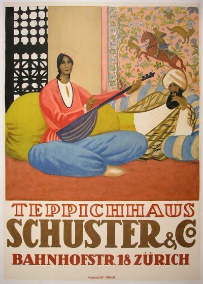 Emil Cardinaux Swiss Art Deco Period Carpet Store Poster by Emil Cardinaux 1924